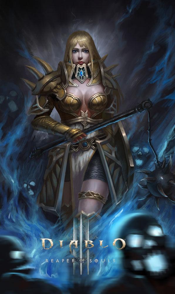 暗黑3玩家作品:唯美的圣教军与愤怒的野蛮人