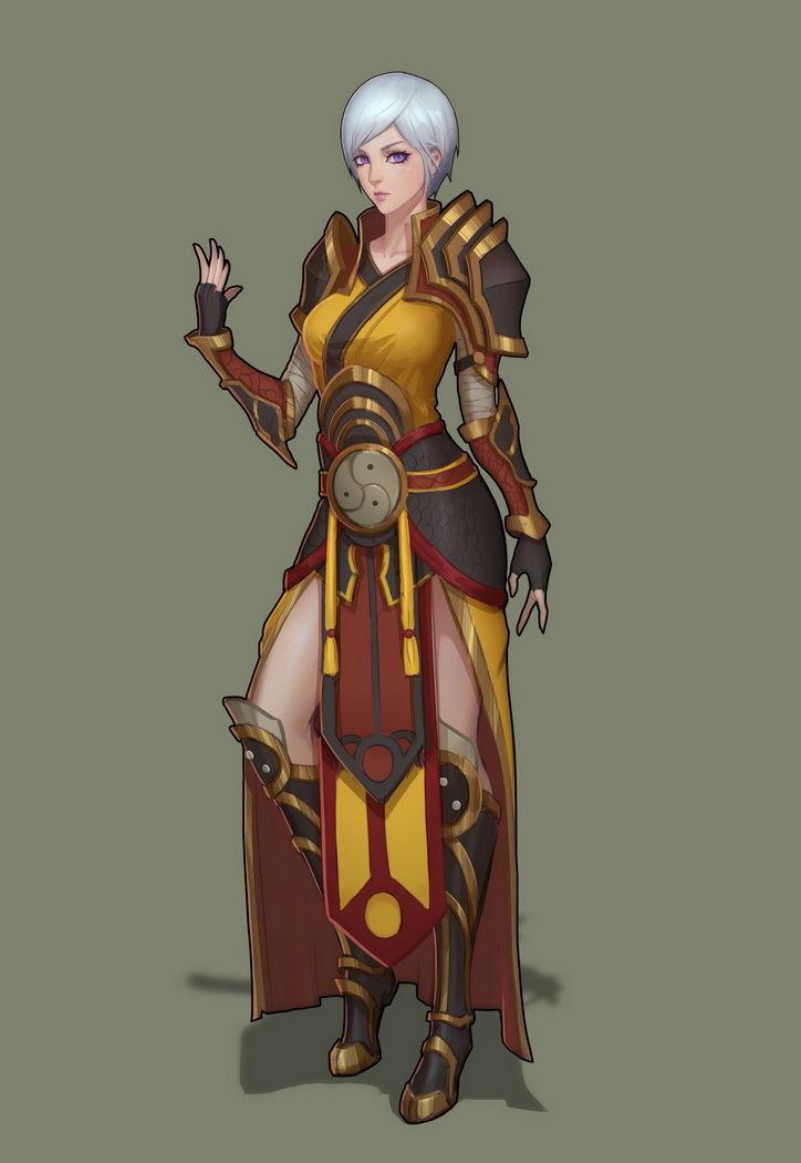暗黑3玩家作品:身着乌莲娜套装的女武僧